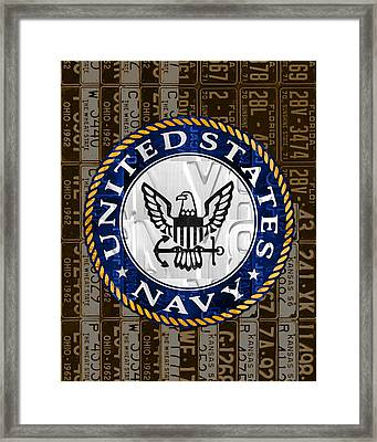 United States Navy Logo Recycled Vintage License Plate Art Framed Print by Design Turnpike