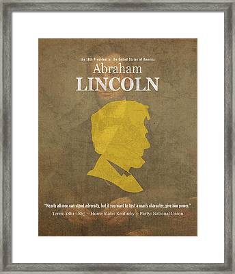 United States Of America President Abraham Lincoln Facts Portrait And Quote Poster Series Number 16 Framed Print by Design Turnpike