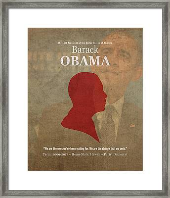United States Of America President Barack Obama Facts Portrait And Quote Poster Series Number 44 Framed Print by Design Turnpike