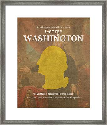 United States Of America President George Washington Facts And Portrait Poster Series Number 1 Framed Print by Design Turnpike