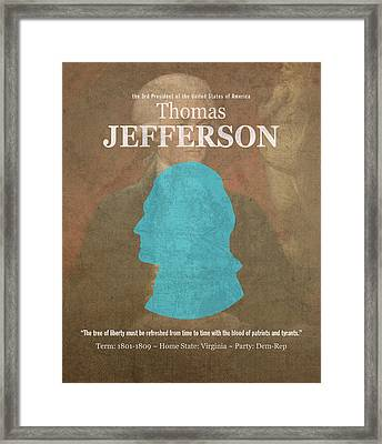 United States Of America President Thomas Jefferson Facts Portrait And Quote Poster Series Number 3 Framed Print by Design Turnpike