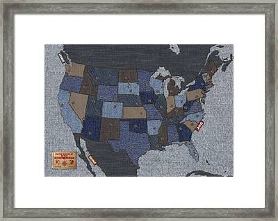 United States Of Denim Framed Print