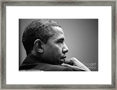 United States President Barack Obama Bw Framed Print by Celestial Images