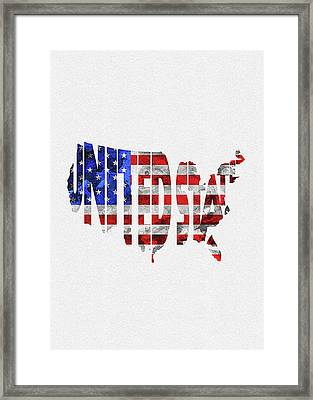 United States Typographic Map Flag Framed Print