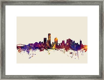 united states, usa, city skyline, watercolour, watercolor, urban,  silhouette, cityscape, Minneapoli Framed Print by Michael Tompsett