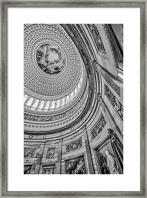 Framed Print featuring the photograph Unites States Capitol Rotunda Bw by Susan Candelario