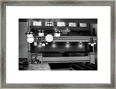 Unity Temple Interior Black And White Framed Print