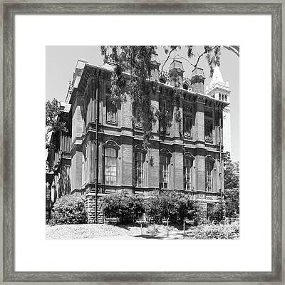 University Of California Berkeley Historic South Hall And The Campanile Dsc4058 Square Bw Framed Print