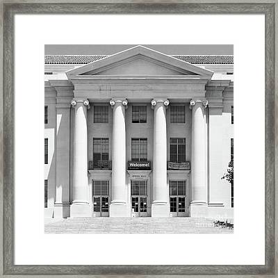 University Of California Berkeley Historic Sproul Hall At Sproul Plaza Dsc4081 Square Bw Framed Print