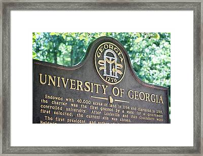Framed Print featuring the photograph University Of Georgia Sign by Parker Cunningham