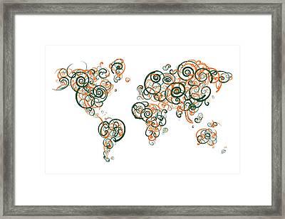 University Of Miami Colors Swirl Map Of The World Atlas Framed Print by Jurq Studio