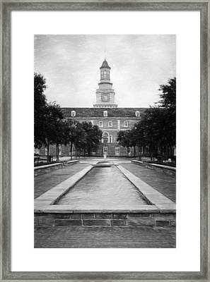 University Of North Texas Bw Framed Print