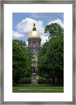 University Of Notre Dame Golden Dome Framed Print