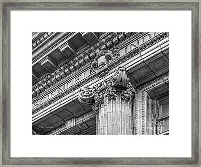University Of Pennsylvania Column Detail Framed Print by University Icons