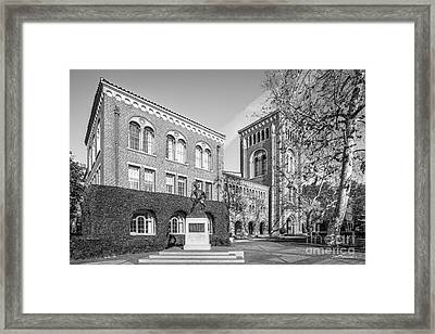 University Of Southern California Admin Bldg With Tommy Trojan Framed Print by University Icons