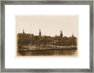 University Of Tampa - Old Postcard Framing Framed Print by Carol Groenen