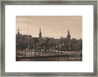 University Of Tampa With Old World Framing Framed Print