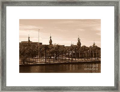 University Of Tampa With River - Sepia Framed Print by Carol Groenen