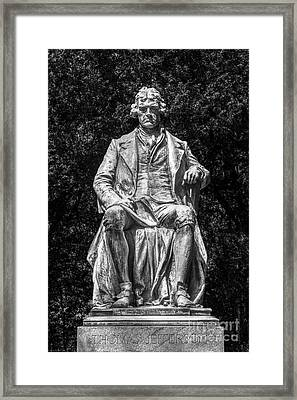 University Of Virginia Thomas Jefferson Statue Framed Print by University Icons