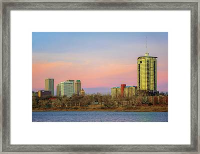 University Tower And Downtown Tulsa Skyline Framed Print by Gregory Ballos