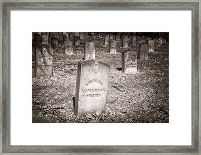 Unknown Confederate Soldier In Sepia Framed Print