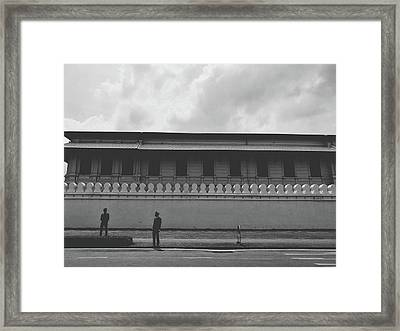 Unknown Men Standing With Long Building Behind Traditional Style Wall  Framed Print by Sirikorn Techatraibhop