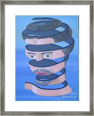 Framed Print featuring the painting Unravelling 2 Inspired By Escher by Eric Kempson