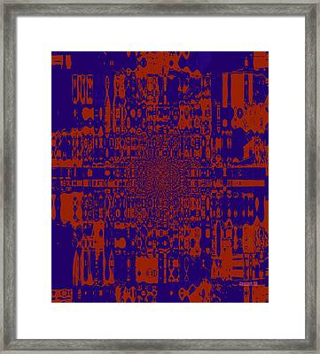Unseen Violence - Red And Blue Framed Print by Fania Simon