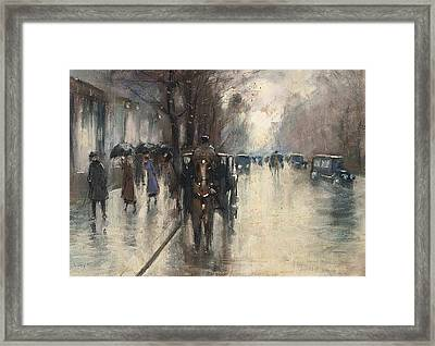 Unter Den Linden Im Regen Framed Print by MotionAge Designs