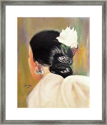 Untitled Dancer With White Flower Framed Print