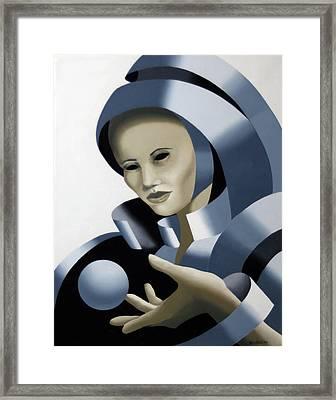 Untitled Futurist Mask Oil Painting Framed Print by Mark Webster