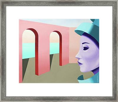 Untitled Mask Oil And Acryic Abstract Painting Framed Print by Mark Webster