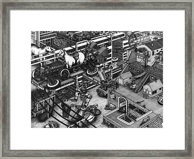 The Moxie Powered Horse Mobile And The Cleaning Robots  Framed Print