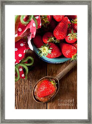 Untreated Jam With Homegrown Strawberries Framed Print by Wolfgang Steiner