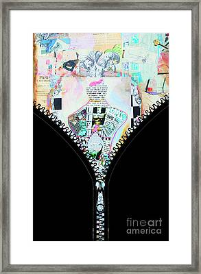 Unzipped Original Woman Framed Print by WALL ART and HOME DECOR