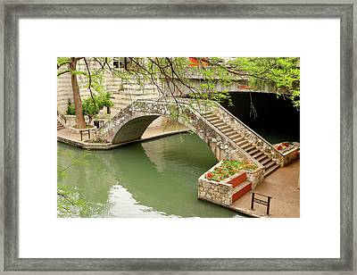 Framed Print featuring the photograph Up And Over - San Antonio River Walk by Art Block Collections