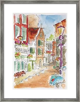 Up Gravenstraat In Amsterdam Framed Print