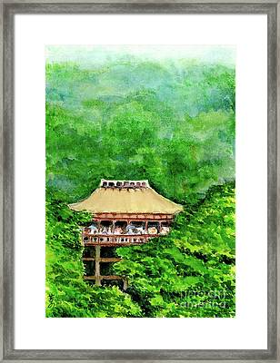 Framed Print featuring the painting Up High Temple by Yoshiko Mishina