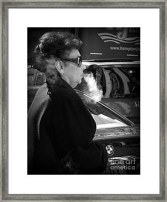 Up In Smoke - Woman With Cigarette Framed Print by Miriam Danar