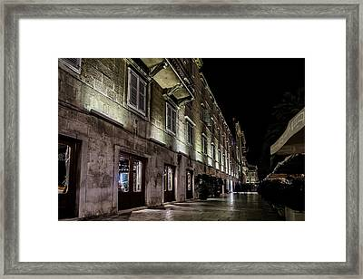 Up Lighting On A European Building At Night  Framed Print