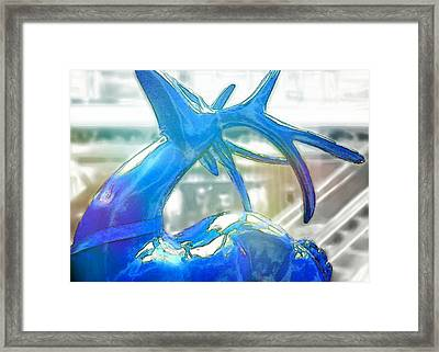 Up On The Rooftop Blue Framed Print by JAMART Photography