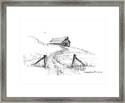 Up The Hill To The Old Barn Framed Print