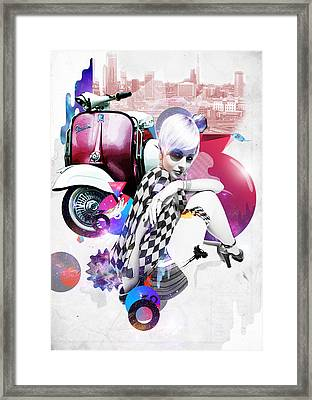 Up Town Top Scooter Girl Framed Print by Eugene James
