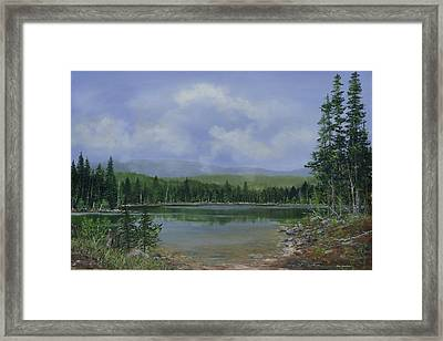 Framed Print featuring the painting Upland Lake by Ken Ahlering