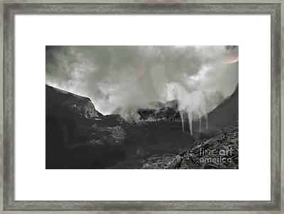 Upon A Pale White Horse Framed Print by Rebecca  Lemke