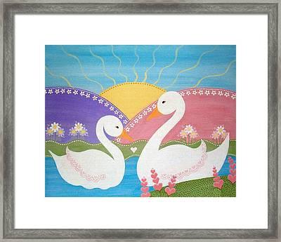 Upon Swan Lake Framed Print by Samantha Shirley
