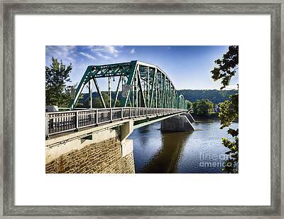 Upper Black Eddy Milford   Bridge Over The Delaware River Framed Print by George Oze