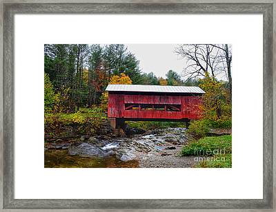 Framed Print featuring the photograph Upper Cox Brook Covered Bridge In Northfield Vermont by T Lowry Wilson