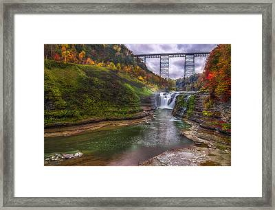 Upper Falls In Fall Framed Print