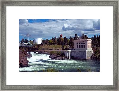 Upper Falls Of Spokane Framed Print